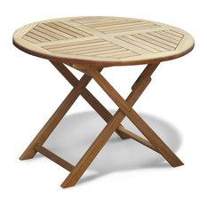 Suffolk Teak Outdoor Round  1m Folding Table