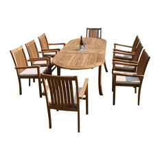 """7-Piece Outdoor Teak Dining Set, 94"""" Oval Table, 6 Cahyo Stacking Arm Chairs"""