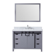 "48"" Single Vanity Dark Gray, White Carrera Marble Top, White Sink, 44"" Mirror"