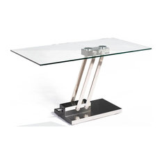 Ordinaire Chintaly Imports   Rectangular Glass Top Cocktail Table With Adjustable  Steel Base   Coffee Tables