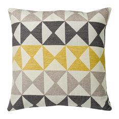 "Modern Diamond Yellow and Gray Cushion, 20""x20"""