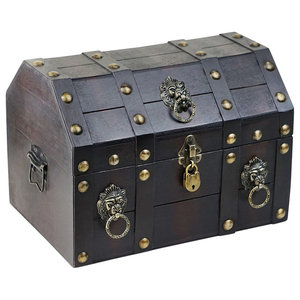 Traditional Storage Chest, Brown Finished Wood With Lock Pirate Treasure Style