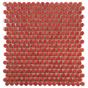 """Andromeda Penny Round Porcelain Mosaic Wall Tile, Red, Sample Card, 3""""x4"""""""