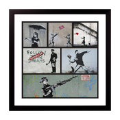 Revolt Fine Art Print Framed by Banksy, Black, 38x38 cm
