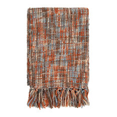 "Solid/Striped Tabitha Throw, Rectangle, Orange-Brown, 50""x60"""