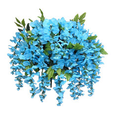 15 Stems Wisteria Long Hanging Bush Flowers, Turquoise
