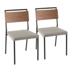 Lumisource Fiji Chairs Black Metal Gray And Walnut Wood Accent Set Of 2