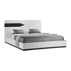 Global Furniture Queen Bed, Zebra Gray and White High Gloss