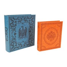Wooden Book Boxes With Faux Leather Covers, 2-Piece Set