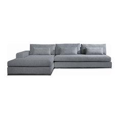 Vig Furniture Inc.   Microfiber Fabric Sectional Sofa, Gray   Sectional  Sofas