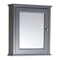 Enki Downton Traditional Wall Hung Mirror Cabinet Single Door Shelf, Matte Grey