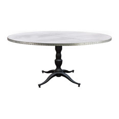 kingston krafts quotfrancescaquot zinc top round dining table  inch diameter : 40 inch round pedestal dining table