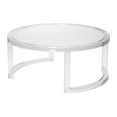 Ava Modern Round Clear Glass Acrylic Coffee Table   Coffee Tables