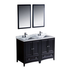 "Oxford 48"" Espresso Double Sink Vanity Sillaro Brushed Nickel Faucet"
