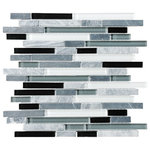 """Anatolia Bliss - Bliss Midnight Stone and Glass Linear Mosaic Tile, 12""""x12"""" Sheet - A well balanced blend of black, gray and white glass interlaced with a nice mix of gray stone mosaic strips. A great choice for a kitchen or bathroom in need of a nice cool neutral tile."""
