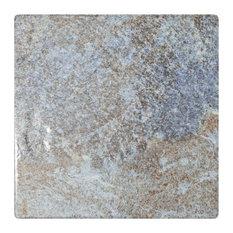"""6""""x6"""" Oceano Porcelain Floor and Wall Tile, Azul Sea"""