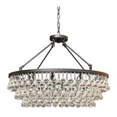 "Lightupmyhome Celeste 32"" Glass Drop Chandelier, Black, Hanging or Flush Mount"