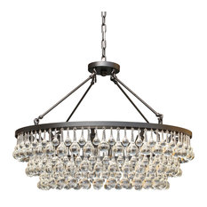 "Lightupmyhome Celeste 32"" Glass Drop Crystal Chandelier, Black"