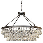 "Lightupmyhome - Celeste 32"" Glass Drop Crystal Chandelier, Black - Hundreds of large and small clear glass drop crystals surround this beautiful chandelier. With 10 lights and a beautiful black frame, this chandelier is sure to light up your home."