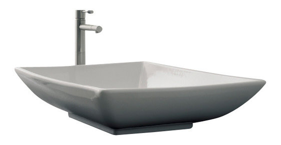 Attractive Rectangular White Ceramic Vessel Sink, No Hole