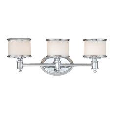 Carlisle 1-Light Vanity, Chrome, White Frosted Opal Glass, 3-Light