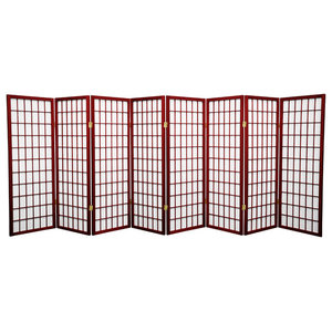4' Tall Window Pane Shoji Screen, Rosewood, 8 Panels