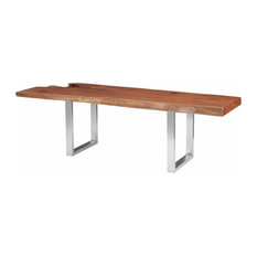 98-inchL Dining Table Live Edge Solid Mahogany Brushed Stainless Steel
