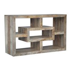Yoga Straight Geometric Mango Wood TV Stand, Light Finish