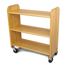 Catskill Craftsmen - Library Book Truck w Flat Shelves, Natural Oa - Bookcases
