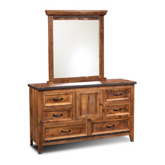 Sunset Trading Rustic City Dresser Mirror| 6 Drawers| Storage Cabinet