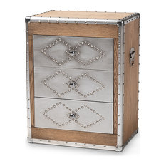 Audric French Industrial Brown Wood And Silver Metal 3-Drawer Accent Chest