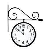 Dual Sided Hanging Clock, Weather Resistant Backed-Enamel Finish