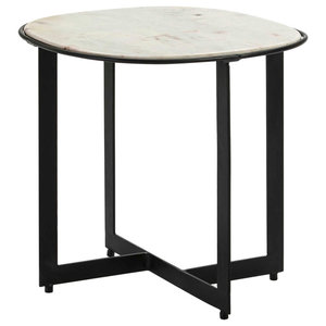 Round Black Metal Side Table With White Marble Table Top, Large