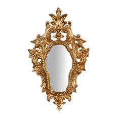 Antique Floral Wall Mirror, Gold Leaf, 40x65 cm