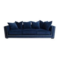 Pasargad Home - Pasargad Cooper Collection Velvet Sofa, Navy - Sofas