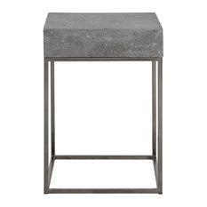 Silver Concrete Top Accent Table End Open Square Gray