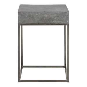 Silver Concrete Top Accent Table, End Open Square Gray