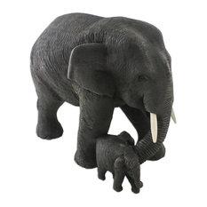 Handmade Elephant Mother Teakwood sculpture - Thailand