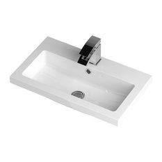 Full Depth Bathroom Sink, White, 61 cm