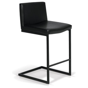 """Leather Counter Stool, Black Frame 24"""""""