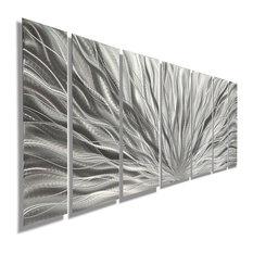 Jon Allen Fine Metal Art   Beautiful Silver Panel Metal Wall Art, Silver  Plumage,