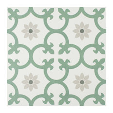 "9 3/4""x9 3/4"" Laima Porcelain Floor and Wall Tile, Green"
