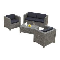 GDFStudio - 4-Piece Venice Outdoor Wicker Sofa Set - Outdoor Lounge Sets
