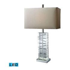 Avalon Table Lamp, Clear Crystal and Chrome, LED Bulb Included