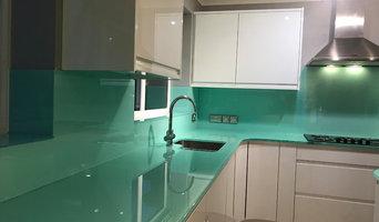 Blue Glass Splashbacks, Worktops and Upstands