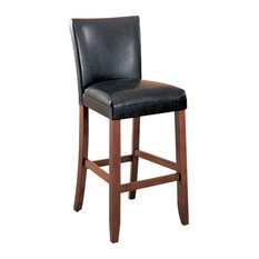 CO Fine Furniture Square Wood Legs Plush Bar Stool Faux Leather Upholstered Seat Set