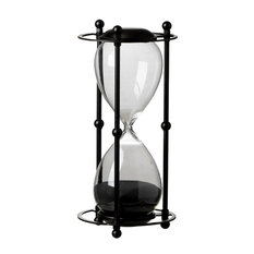 """1 Hour Hourglass Sand Timer in Stand, 6""""x13"""", Black Sand"""
