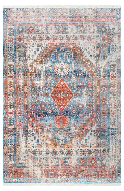 Bohemian Medallion Fringe Contemporary Area Rugs By
