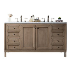 """Chicago 60"""" Double Vanity, White Washed Walnut, 3cm Carrara White Marble Top"""