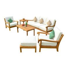 6-Piece Nain Outdoor Teak Sofa Set with Canvas Glacier Sunbrella Cushion